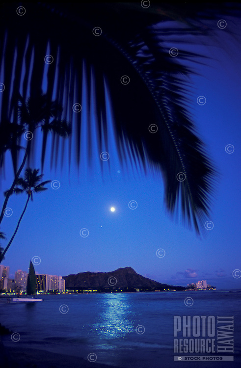 Moonrise over Diamond Head from Waikiki