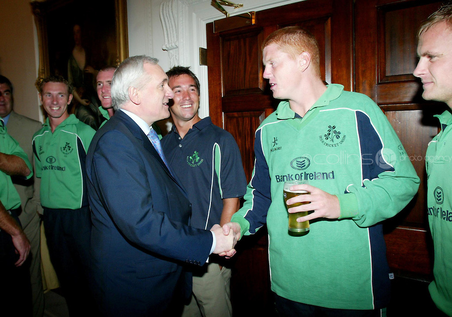 25/04/2007.Member of the Irish Cricket Team Kevin O'Brien greets An Taoiseach Bertie Ahern TD during a homecoming reception for the Cricket team at the Shelbourne Hotel, Dublin..Photo: Collins