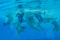 Members of team Ukraine perform during the free combination routine at the FINA World Junior Artistic Swimming Championships in Budapest, Hungary on July 22, 2018. ATTILA VOLGYI