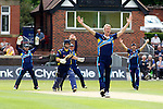 Pix: Shaun Flannery/shaunflanneryphotography.com...COPYRIGHT PICTURE>>SHAUN FLANNERY>01302-570814>>07778315553>>..19th May 2013..Derbyshire Unicorns v Yorkshire Vikings..Yorkshire Bank 40 National League Cricket Match..Unsuccessful LBW appeal on Unicorns Lancefield by Yorkshire's Steven Patterson.