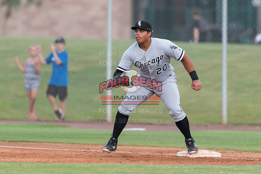 AZL White Sox first baseman Harvin Mendoza (20) waits to receive a throw during an Arizona League game against the AZL Cubs 2 at Sloan Park on July 13, 2018 in Mesa, Arizona. The AZL Cubs 2 defeated the AZL White Sox by a score of 6-4. (Zachary Lucy/Four Seam Images)