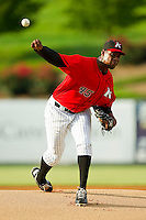 Kannapolis Intimidators starting pitcher Braulio Ortiz (45) in action against the West Virginia Power at CMC-Northeast Stadium on July 9, 2013 in Kannapolis, North Carolina.  The Power defeated the Intimidators 3-1.   (Brian Westerholt/Four Seam Images)
