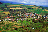 Aerial view of picturesque Naalehu, on the Big Island of Hawaii, the most southern town in the United States.
