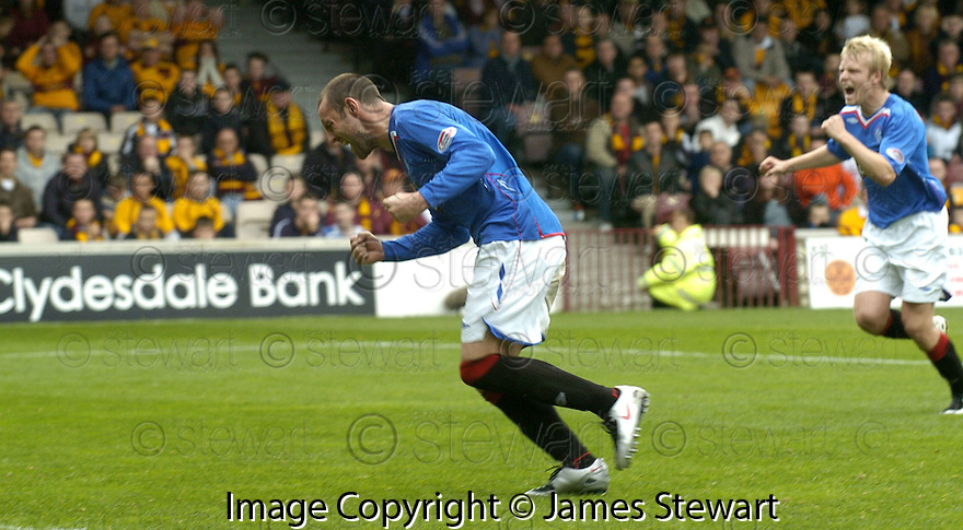 29/09/2007       Copyright Pic: James Stewart.File Name : sct_jspa11_motherwell_v_rangers.Rangers' Kris Boyd celebrates after he scores from the penalty spot....James Stewart Photo Agency 19 Carronlea Drive, Falkirk. FK2 8DN      Vat Reg No. 607 6932 25.Office     : +44 (0)1324 570906     .Mobile   : +44 (0)7721 416997.Fax         : +44 (0)1324 570906.E-mail  :  jim@jspa.co.uk.If you require further information then contact Jim Stewart on any of the numbers above........