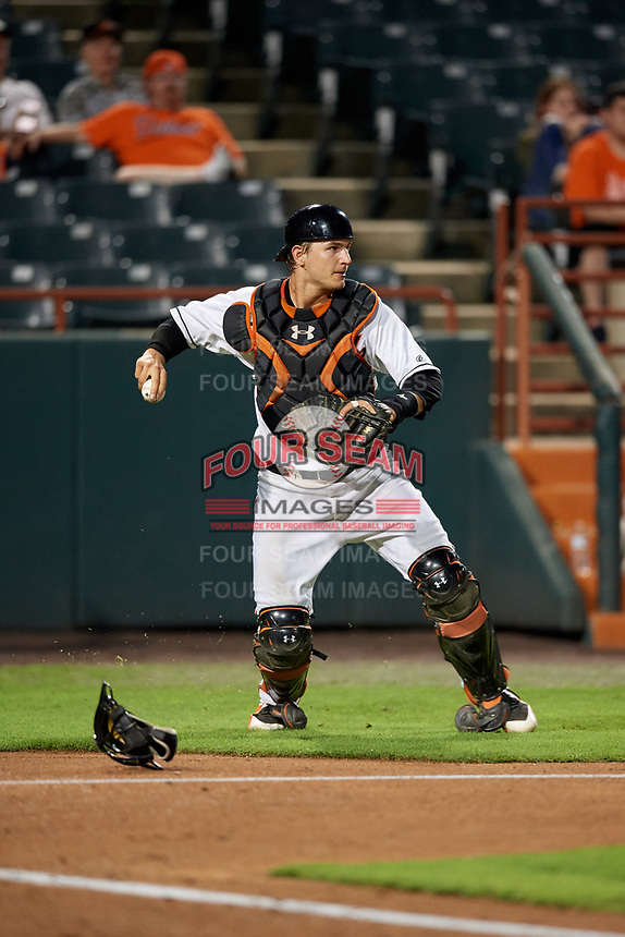 Bowie Baysox catcher Martin Cervenka (13) throws to second base during the second game of a doubleheader against the Trenton Thunder on June 13, 2018 at Prince George's Stadium in Bowie, Maryland.  Bowie defeated Trenton 10-1.  (Mike Janes/Four Seam Images)