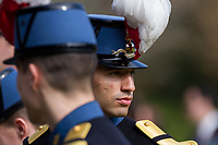 French soldiers at the Remembrance Sunday ceremony at the Hodogaya, Commonwealth War Graves Cemetery in Hodogaya, Yokohama, Kanagawa, Japan. Sunday November 11th 2018. The Hodagaya Cemetery holds the remains of more than 1500 servicemen and women, from the Commonwealth but also from Holland and the United States, who died as prisoners of war or during the Allied occupation of Japan. Each year officials from the British and Commonwealth embassies, the British Legion and the British Chamber of Commerce honour the dead at a ceremony in this beautiful cemetery. The year 2018 marks the centenary of the end of the First World War in 1918.