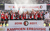 May 14th 2017, Rotterdam, Netherlands;  Players of Feyenoord Rotterdam celebrate during the awarding ceremony after the Dutch Eredivisie match between Feyenoord Rotterdam and Heracles Almelo in Rotterdam, the Netherlands, May 14, 2017.  This was Kuyt last game for his club before retiring from the game.