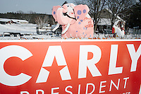 A sign for Republican presidential candidate Carly Fiorina hangs on a fence near a large pink elephant in Derry, New Hampshire, on Tues., Feb. 10, 2016.