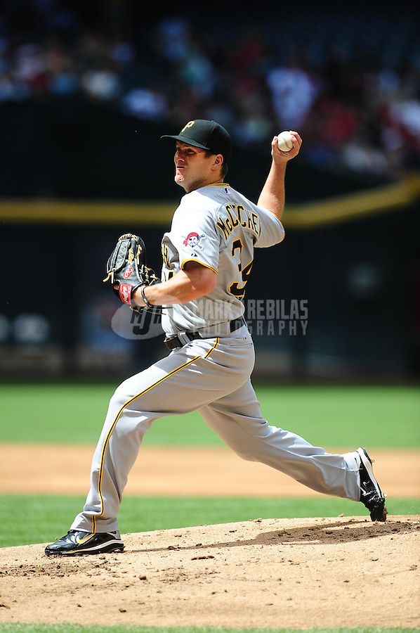 Apr. 11, 2010; Phoenix, AZ, USA; Pittsburgh Pirates pitcher Daniel McCutchen throws in the first inning against the Arizona Diamondbacks at Chase Field. Mandatory Credit: Mark J. Rebilas-