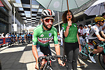 Green Jersey holder Fernando Gaviria (COL) UAE Team Emirates lined up for the start of Stage 3 of the 2019 UAE Tour, running 179km form Al Ain to Jebel Hafeet, Abu Dhabi, United Arab Emirates. 26th February 2019.<br /> Picture: LaPresse/Massimo Paolone | Cyclefile<br /> <br /> <br /> All photos usage must carry mandatory copyright credit (© Cyclefile | LaPresse/Massimo Paolone)
