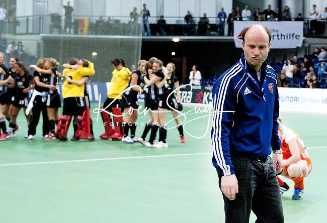 LEIPZIG -   , zaterdag tijdens de halve finalewedstrijd bij de vrouwen tussen Nederland en Duitsland (1-4) bij het EK Zaalhockey in Leipzig.  Duitsland plaatst zich voor de finale. ANP KOEN SUYK