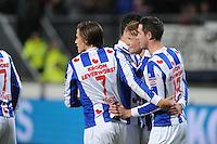 VOETBAL: HEERENVEEN: Abe Lenstra Stadion, 07-02-2015, Eredivisie, sc Heerenveen - PEC Zwolle, Eindstand: 4-0, Simon Thern (#7), Mark Uth (#19), Sam Larsson (#11), ©foto Martin de Jong