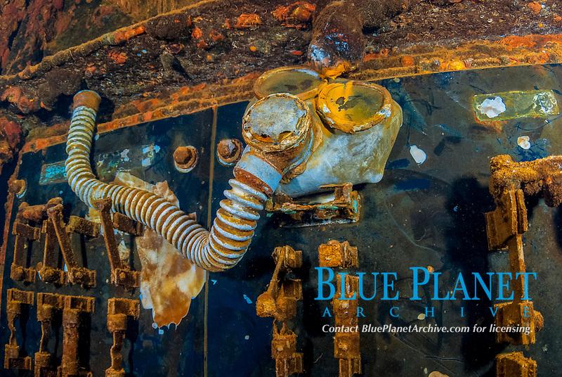 Gas mask, Breaker switches, engine room, Operation Hailstone, Wreck, WWII, Japanese shipwreck, Fujikawa Maru, Truk, Chuuk Lagoon, Micronesia, Pacific Ocean,