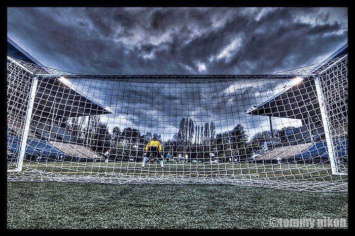 Soccer goalie in the net,Memorial Stadium, Seattle Center, Seattle