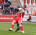 07.10.2018, Stadion an der Wuhlheide, Berlin, GER, 2.FBL, 1.FC UNION BERLIN  VS. 1.FC Heidenheim, <br /> DFL  regulations prohibit any use of photographs as image sequences and/or quasi-video<br /> im Bild Sebastian Polter (1.FC Union Berlin #9), Timo Beermann (Heidenheim #33)<br /> <br /> <br />      <br /> Foto &copy; nordphoto / Engler