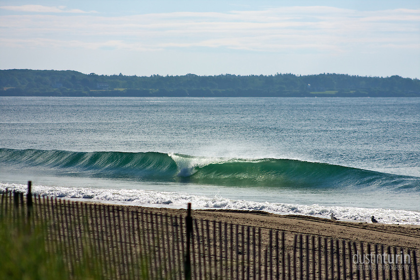 Perfect, peeling waves at a break around Portland, Maine.