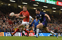 Wales' George North chases down the lose ball<br /> <br /> Photographer Ian Cook/CameraSport<br /> <br /> Under Armour Series Autumn Internationals - Wales v Scotland - Saturday 3rd November 2018 - Principality Stadium - Cardiff<br /> <br /> World Copyright &copy; 2018 CameraSport. All rights reserved. 43 Linden Ave. Countesthorpe. Leicester. England. LE8 5PG - Tel: +44 (0) 116 277 4147 - admin@camerasport.com - www.camerasport.com