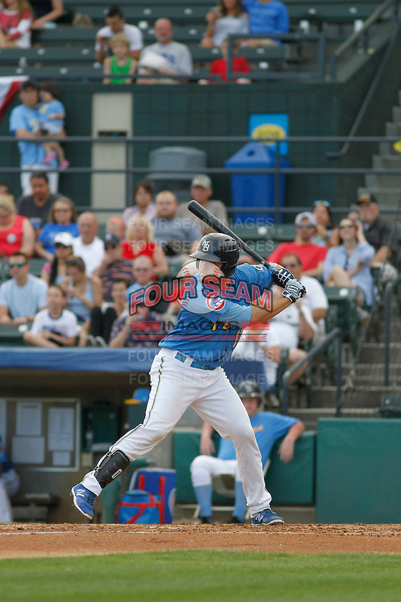 Myrtle Beach Pelicans catcher Victor Caratini (17) at bat during a game against the Potomac Nationals at Ticketreturn.com Field at Pelicans Ballpark on May 25, 2015 in Myrtle Beach, South Carolina. Myrtle Beach defeated Potomac 3-0. (Robert Gurganus/Four Seam Images)