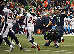 Seattle Seahawks kicker Steven Hauschka kicks a 24-yard field goal against the DenverBroncos during the third quarter at CenturyLink Field on August 14, 2015 in Seattle Washington.  The Broncos beat the Seahawks 22-20.  © 2015. Jim Bryant Photo. All Rights Reserved.