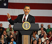 Elkhart, IN - February 9, 2009 -- United States President Barack Obama speaks at a town hall meeting in Elkhart, Indiana, USA 09 February 2009. Obama is seeking public support for his economic stimulus plan by taking to the road to visit hard hit areas of the country. The unemployment rate in Elkhart is over 15%, triple the rate of December 2008..Credit: Tannen Maury - Pool via CNP.