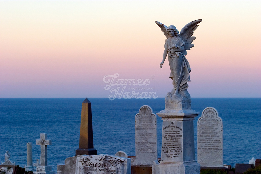 Waverly cemetery, Bronte, Sydney, Australia.<br /> The Waverley Cemetery opened in 1877 and is a major cemetery at Bronte in the eastern suburbs of Sydney. It is in a spectacular scenic location on the top of the ocean cliffs.  Waverley Cemetery is fully operational cemetery offering earth burial and cremation options. Although not a tourist attraction as such Waverley Cemetery has quite a few celebrities, actors, writers, artists, and political leaders buried there and is often used as a dramatic location for filming work.<br />