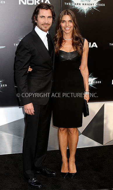 WWW.ACEPIXS.COM . . . . .  ....July 16 2012, New York City....Actor Christian Bale and Sibi Blazic at 'The Dark Knight Rises' premiere at AMC Lincoln Square Theater on July 16, 2012 in New York City.....Please byline: NANCY RIVERA- ACEPIXS.COM.... *** ***..Ace Pictures, Inc:  ..Tel: 646 769 0430..e-mail: info@acepixs.com..web: http://www.acepixs.com