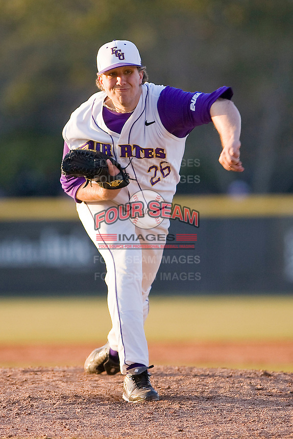 Relief pitcher Patrick Somers #26 of the East Carolina Pirates in action versus the Virginia Cavaliers at Clark-LeClair Stadium on February 19, 2010 in Greenville, North Carolina.   Photo by Brian Westerholt / Four Seam Images