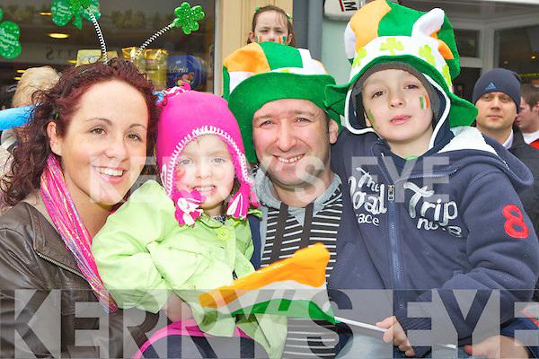 Catriona, Naoishe, Stephen and Cathal O'Donoghue Listry who enjoyed the Killarney St Patricks day parade on Saturday..