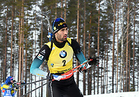 March 14th 2020, Kontiolahti, Finland; Martin Fourcade of France warms up ahead of the mens 12.5km Pursuit competition at the IBU Biathlon World Cup in Kontiolahti, Finland, on March 14th