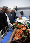 Palestinian president Mahmoud Abbas visits Fatah spokesman Atef Abu Seif at Palestine Medical Complex in the West Bank city of Ramallah, on March 20 2019. Photo by Thaer Ganaim