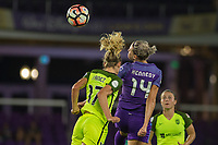 Orlando, FL - Thursday September 07, 2017: Beverly Yanez, Alanna Kennedy during a regular season National Women's Soccer League (NWSL) match between the Orlando Pride and the Seattle Reign FC at Orlando City Stadium.