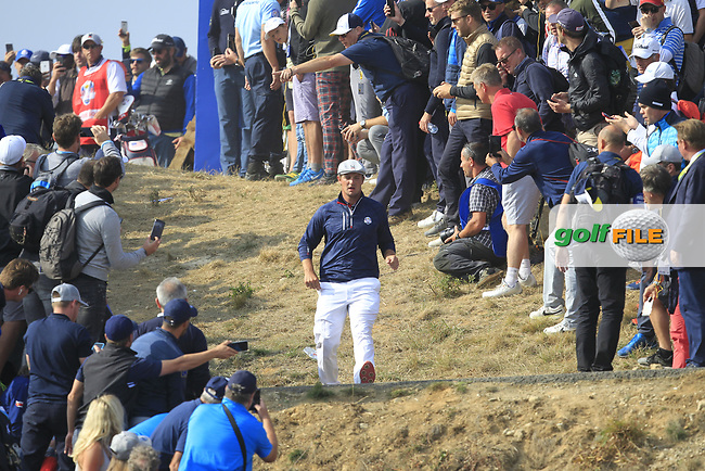 Bryson DeChambeau (Team USA) on the 7th during the Friday Foursomes at the Ryder Cup, Le Golf National, Ile-de-France, France. 28/09/2018.<br /> Picture Thos Caffrey / Golffile.ie<br /> <br /> All photo usage must carry mandatory copyright credit (© Golffile   Thos Caffrey)