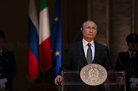 Rome, 04/07/2019. Today, the four-time President of the Russian Federation, Vladimir Putin, visited Palazzo Chigi (Official Residence of the Italian Prime Minister and official meeting place of the Council of the Ministers) where he had a private meeting and a press conference with the Italian Prime Minister, Giuseppe Conte. During his visit to Italy, President Putin met Pope Francis, the President of the Italian Republic, Sergio Mattarella, and his old friend and Italian politician, Silvio Berlusconi.   <br />