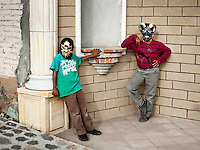 Young boys wear masks during Easter celebrations in Teotitlan del Valle near Oaxaca, Mexico, Monday April 9, 2012...Photo by MATT NAGER