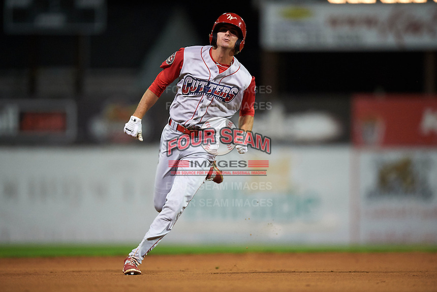 Williamsport Crosscutters designated hitter Mark Laird (7) running the bases during a game against the Batavia Muckdogs on August 27, 2015 at Dwyer Stadium in Batavia, New York.  Batavia defeated Williamsport 3-2.  (Mike Janes/Four Seam Images)