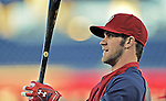 12 October 2012: Washington Nationals outfielder Bryce Harper awaits his turn in the batting cage prior to Postseason Playoff Game 5 of the National League Divisional Series against the St. Louis Cardinals at Nationals Park in Washington, DC. The Cardinals rallied with four runs in the 9th inning to defeat the Nationals 9-7; thus winning the NLDS and moving on to the NL Championship Series. Mandatory Credit: Ed Wolfstein Photo