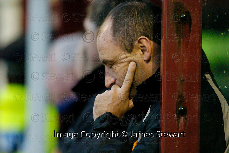 18/11/2006       Copyright Pic: James Stewart.File Name :sct_jspa08_mothwerwell_v_hibernian.A DEJECTED MAURICE MALPAS AS HIS SIDE GO FOUR DOWN BY HALF TIME...James Stewart Photo Agency 19 Carronlea Drive, Falkirk. FK2 8DN      Vat Reg No. 607 6932 25.Office     : +44 (0)1324 570906     .Mobile   : +44 (0)7721 416997.Fax         : +44 (0)1324 570906.E-mail  :  jim@jspa.co.uk.If you require further information then contact Jim Stewart on any of the numbers above.........