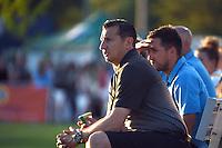 Kansas City, MO - Saturday May 28, 2016: FC Kansas City head coach Vlatko Andonovski watches against the Orlando Pride during a regular season National Women's Soccer League (NWSL) match at Swope Soccer Village. Kansas City won 2-0.