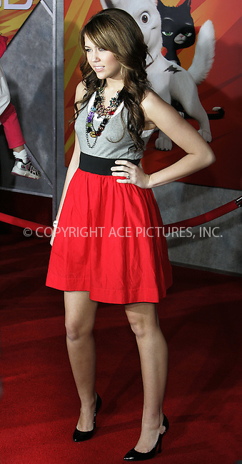 WWW.ACEPIXS.COM . . . . . ....November 17 2008, LA....Actress Miley Cyrus arriving at the premiere of 'Bolt' on November 17, 2008 in Hollywood, California.....Please byline: JOE WEST- ACEPIXS.COM.. . . . . . ..Ace Pictures, Inc:  ..(646) 769 0430..e-mail: info@acepixs.com..web: http://www.acepixs.com