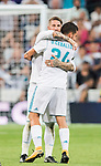 Sergio Ramos of Real Madrid celebrates with teammate Daniel Ceballos Fernandez, Dani Ceballos, during their Supercopa de Espana Final 2nd Leg match between Real Madrid and FC Barcelona at the Estadio Santiago Bernabeu on 16 August 2017 in Madrid, Spain. Photo by Diego Gonzalez Souto / Power Sport Images