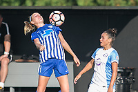 Allston, MA - Saturday August 19, 2017: Megan Oyster, Camila Martins Pereira during a regular season National Women's Soccer League (NWSL) match between the Boston Breakers and the Orlando Pride at Jordan Field.