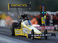 Aug. 16, 2013; Brainerd, MN, USA: NHRA top fuel dragster driver Morgan Lucas during qualifying for the Lucas Oil Nationals at Brainerd International Raceway. Mandatory Credit: Mark J. Rebilas-