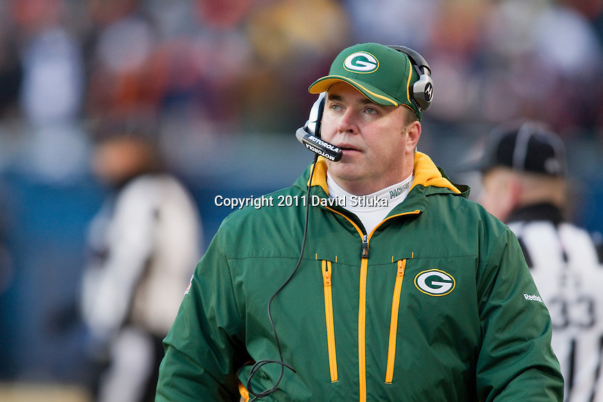 Green Bay Packers head coach Mike McCarthy looks on during the NFC Championship NFL football game against the Chicago Bears at Soldier Field in Chicago on January 23, 2011. The Packers won 21-14. (AP Photo/David Stluka)