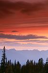 Sunrise over cascade range, Mount Rainier National Park, Washington