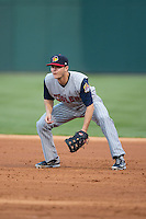 Toledo Mud Hens first baseman Jason Krizan (4) on defense against the Charlotte Knights at BB&T BallPark on April 27, 2015 in Charlotte, North Carolina.  The Knights defeated the Mud Hens 7-6 in 10 innings.   (Brian Westerholt/Four Seam Images)