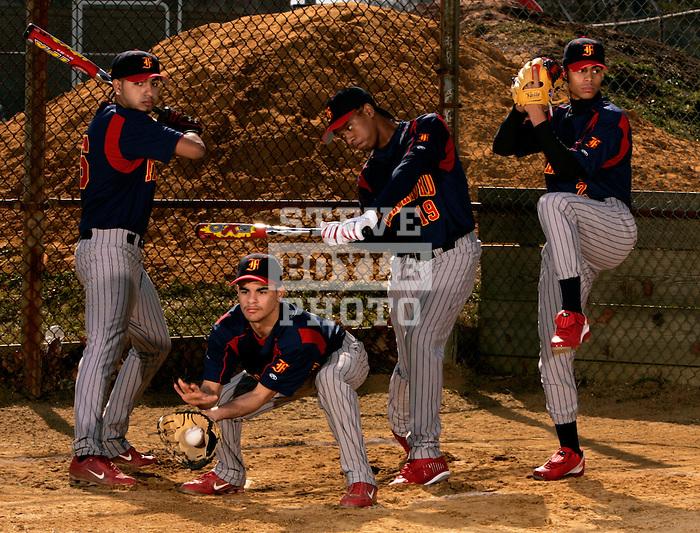 Frankford High School baseball team on March 3, 2008 in Philadelphia, Pennsylvania.  Pictured is Esteban Meletich, Edwin Rohena, Jose Burgos and Jonny Bracero.