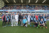 Wycombe players pose with Star James Murray during The Impractical Jokers (Hit US TV Comedy) filming at Wycombe Wanderers FC at Adams Park, High Wycombe, England on 5 April 2016. Photo by Andy Rowland.