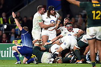Harry Williams and Jamie George of England celebrate as England are awarded a penalty at a scum. Quilter International match between England and South Africa on November 3, 2018 at Twickenham Stadium in London, England. Photo by: Patrick Khachfe / Onside Images