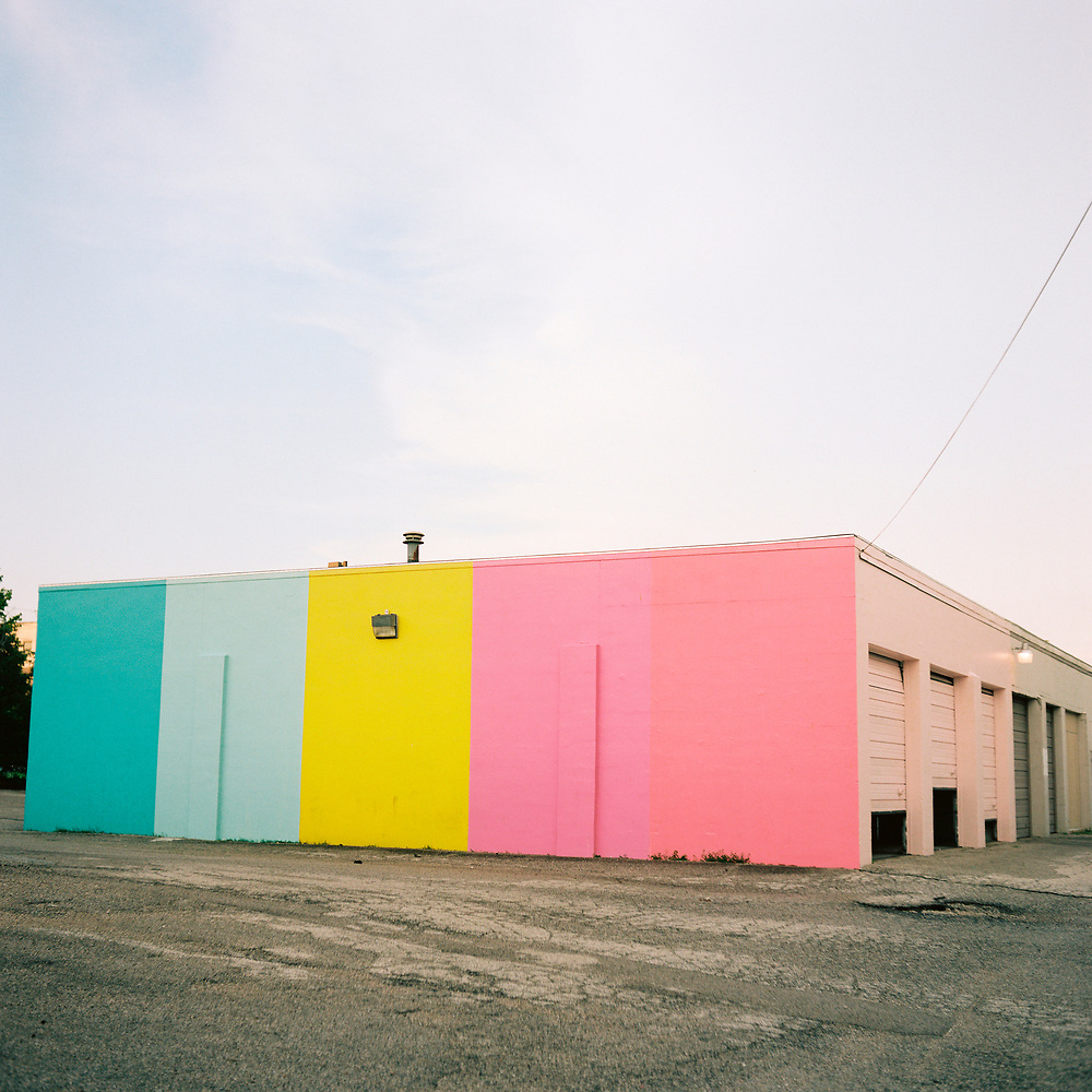 A colorfully-painted garage is pictured along the B-Line Trail in Bloomington, Indiana on Friday, June 1, 2018. (Photo by James Brosher)