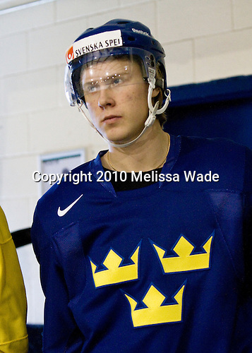 Dennis Rasmussen (Sweden - 12) - Team Sweden practiced at Agriplace in Saskatoon, Saskatchewan on Saturday, January 2, 2010, during the 2010 World Juniors tournament.